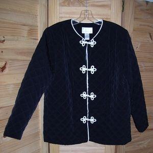 Susan Graver Quilted Black white Jacket  L/S SZ M